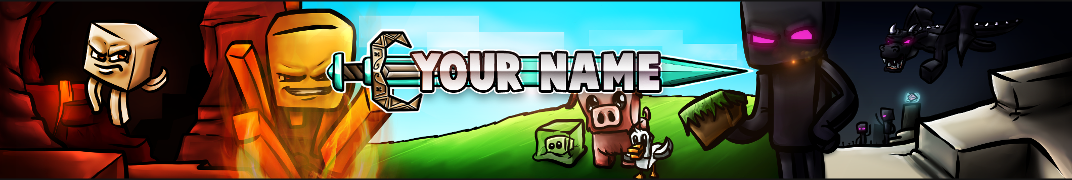 Youtube Banner Template Free Minecraft Youtube Banner